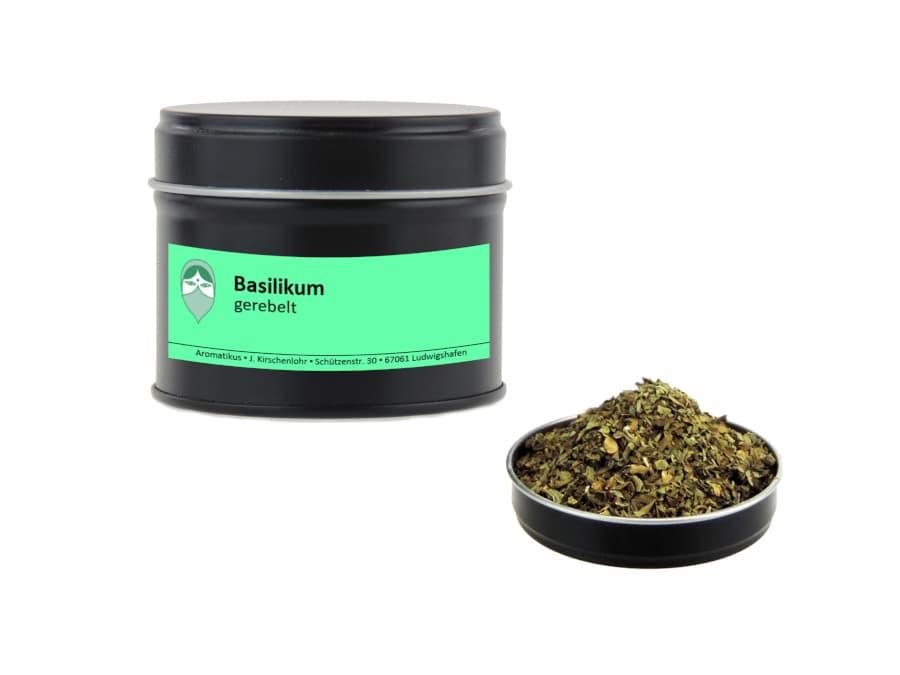 Basilikum getrocknet gerebelt von Aromatikus in einer Aromaschutzdose
