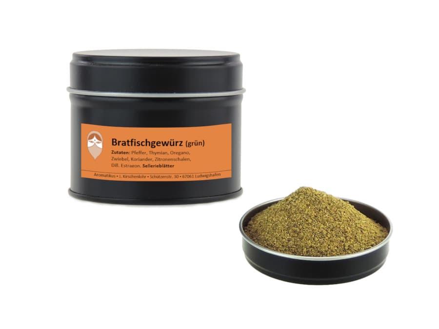 Bratfischgewürz grün Mischung von Aromatikus in einer Aromaschutzdose