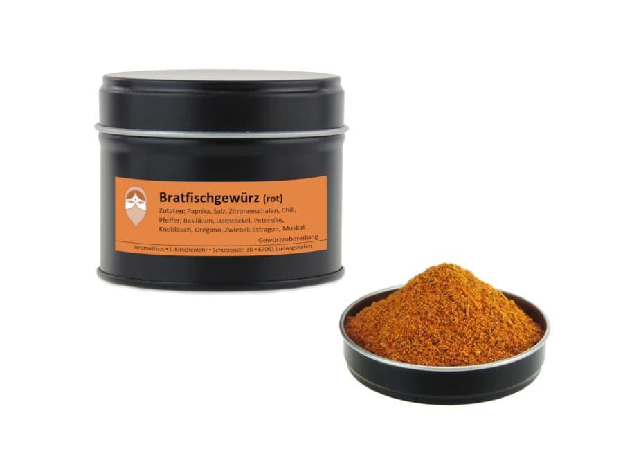 Bratfischgewürz rot Mischung von Aromatikus in einer Aromaschutzdose