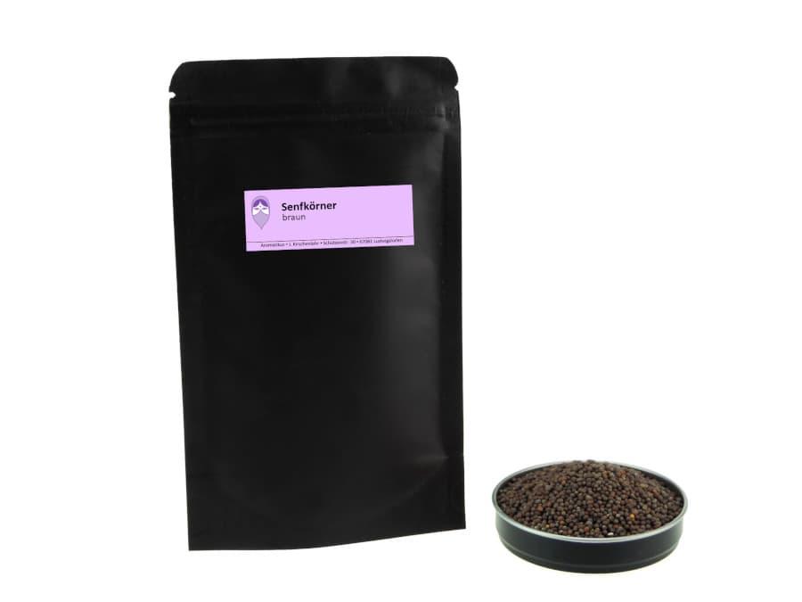braune Senfkörner von Aromatikus im verschließbaren Nachfüllpäckchen