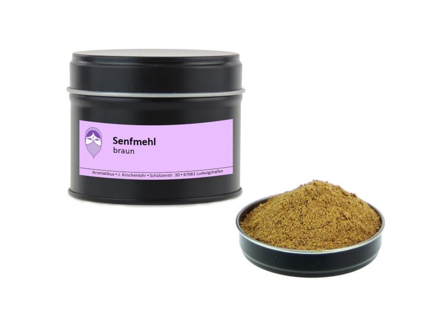 braunes Senfmehl von Aromatikus in einer Aromaschutzdose