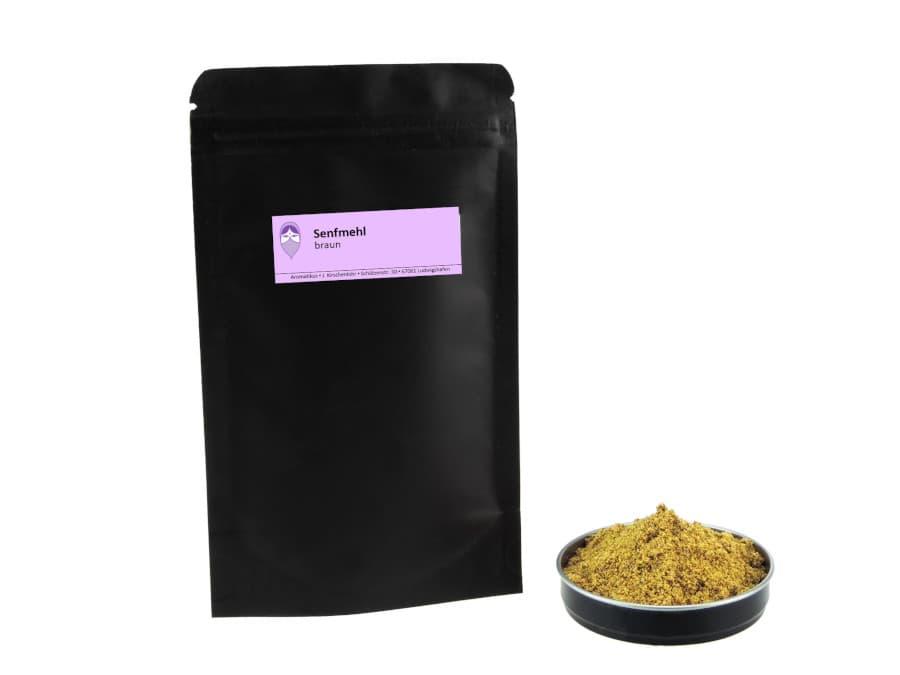 braunes Senfmehl von Aromatikus im verschließbaren Nachfüllpäckchen
