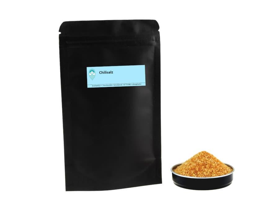 Chilisalz hausgemischt von Aromatikus in einem verschließbaren Nachfüllpäckchen