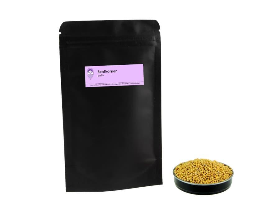 gelbe Senfkörner von Aromatikus im verschließbaren Nachfüllpäckchen