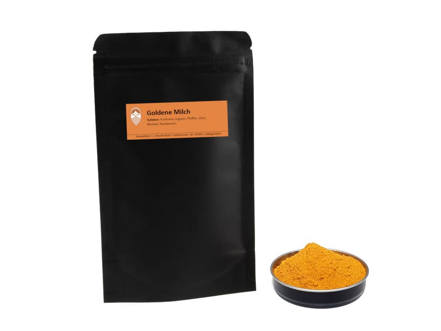Goldene Milch Gewürzmischung von Aromatikus im verschließbaren Päckchen