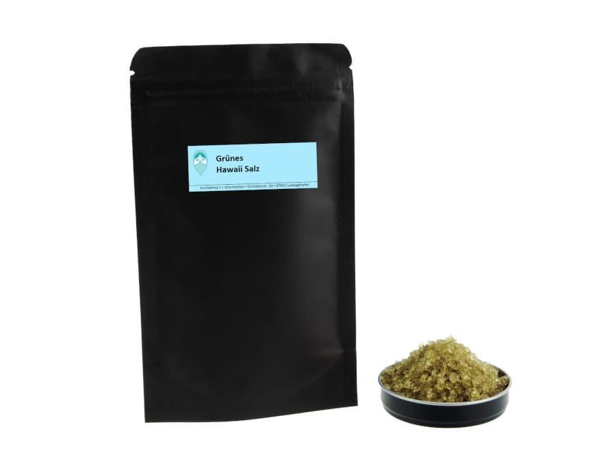 grünes Hawaiisalz mit Bambusextrakt von Aromatikus im verschließbaren Päckchen