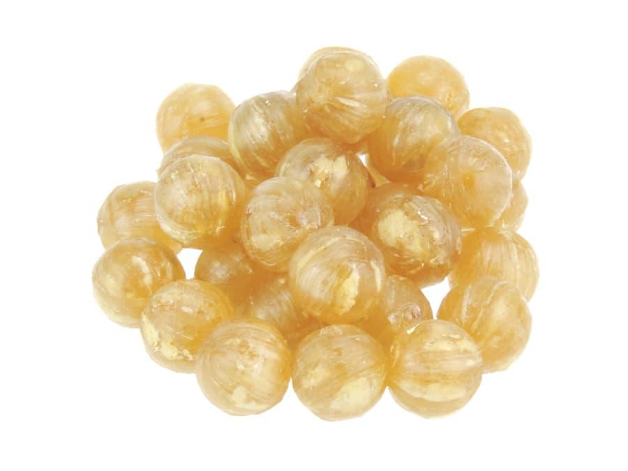 Ingwer-Zitrone Bonbons in Kugelform mit gefriergetrockneten Fruchtstücken von Aromatikus