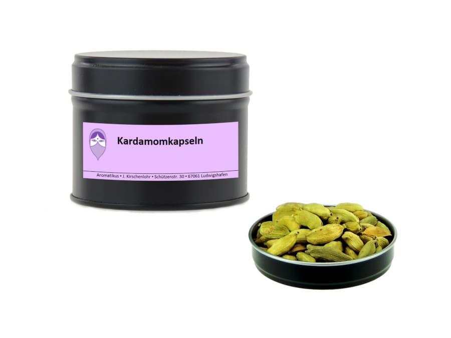 Kardamomkapseln von Aromatikus in einer Aromaschutzdose