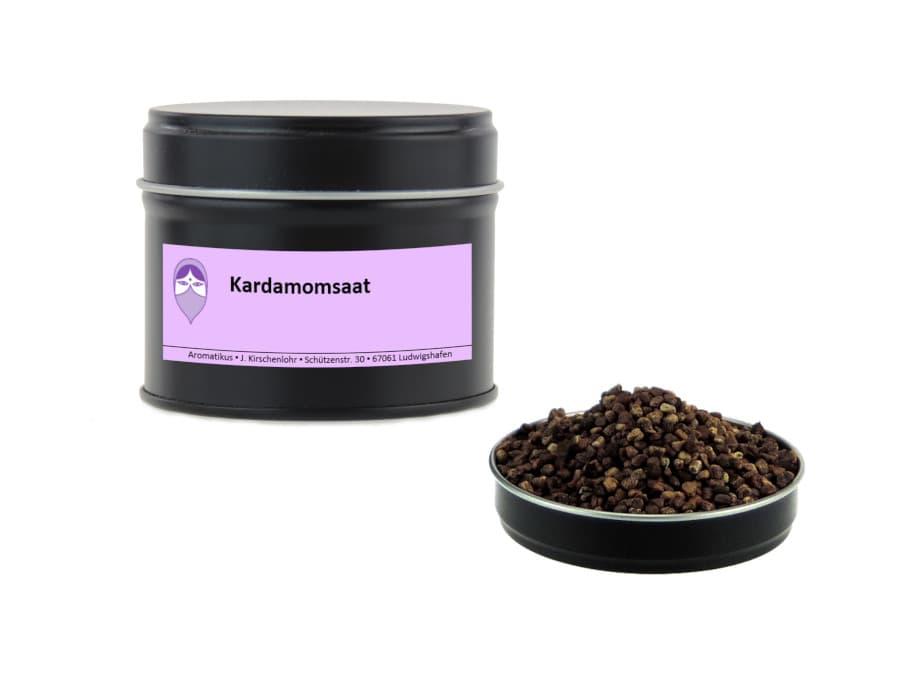 Kardamomsaat von Aromatikus in einer Aromaschutzdose