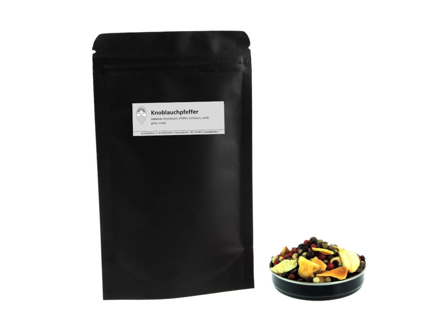 Knoblauchpfeffer Pfeffermischung von Aromatikus im verschließbaren Päckchen