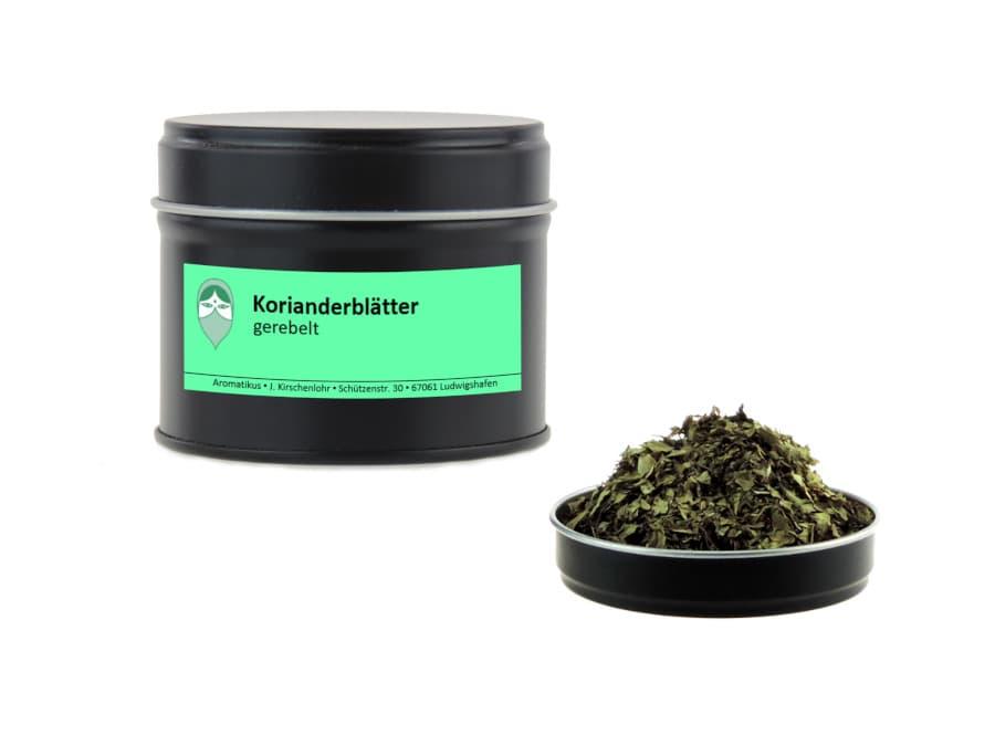 Korianderblätter gerebelt von Aromatikus in einer Aromaschutzdose