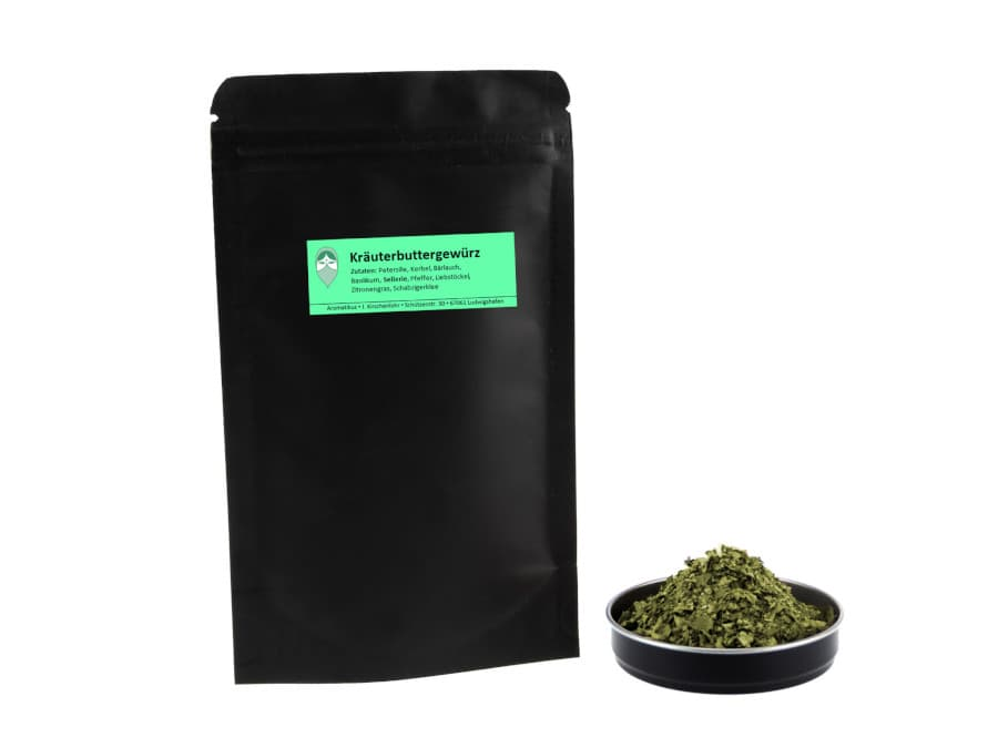 Kräuterbuttergewürz Kräutermischung von Aromatikus im verschließbaren Nachfüllpäckchen