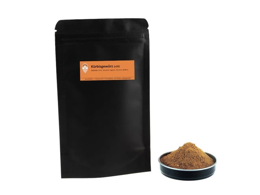 süßes Kürbisgewürz Mischung von Aromatikus im verschließbaren Päckchen