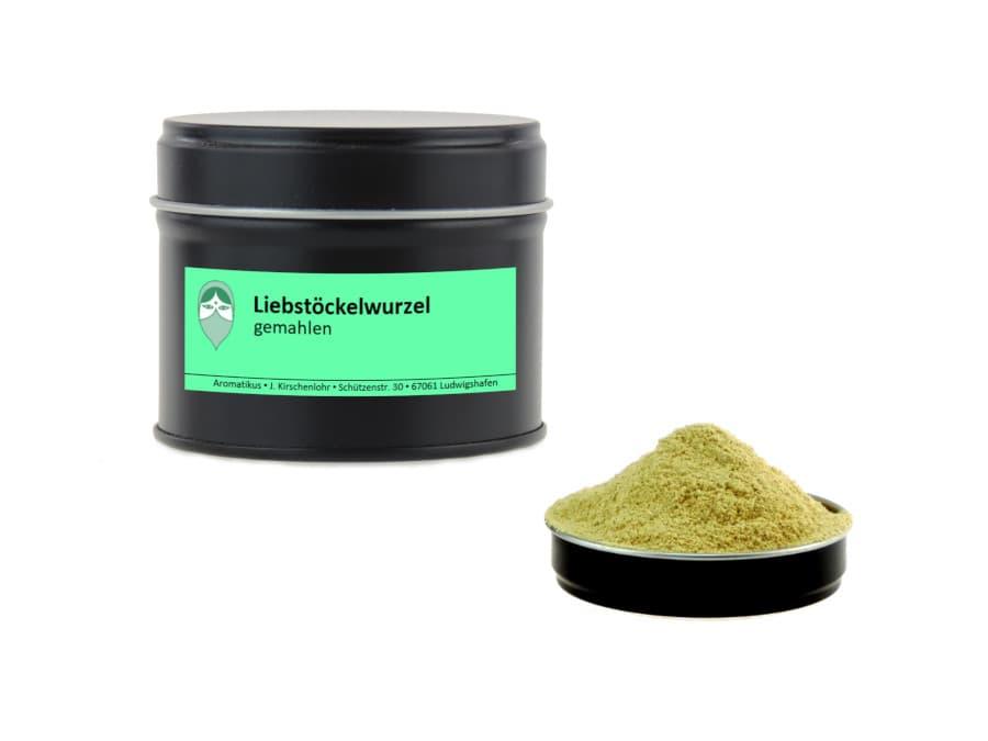 Liebstöckelwurzel gemahlen von Aromatikus in einer Aromaschutzdose