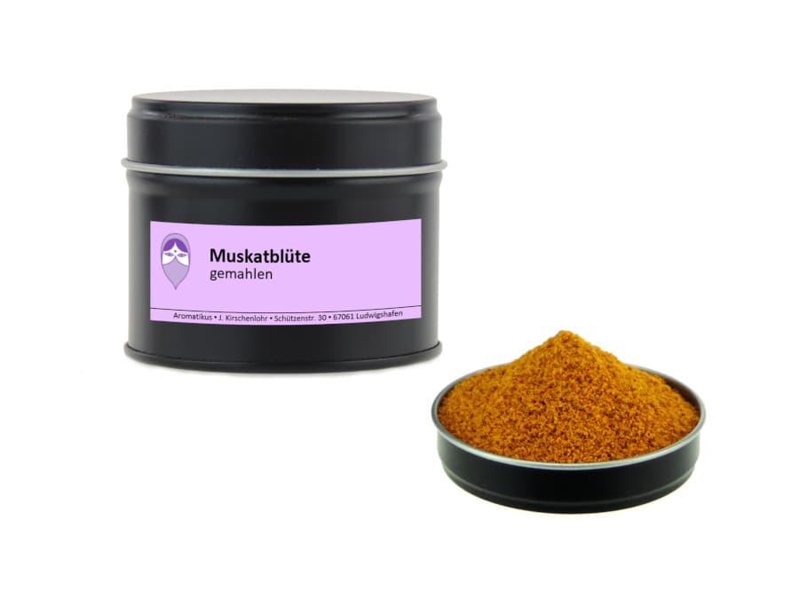 Muskatblüte gemahlen von Aromatikus in einer Aromaschutzdose