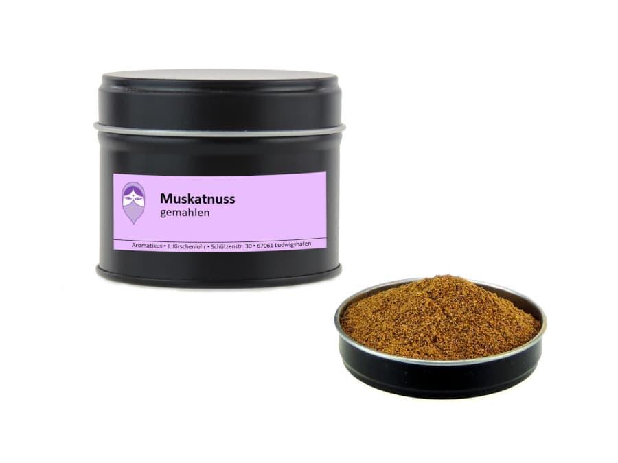 Muskatnüsse gemahlen von Aromatikus in einer Aromaschutzdose