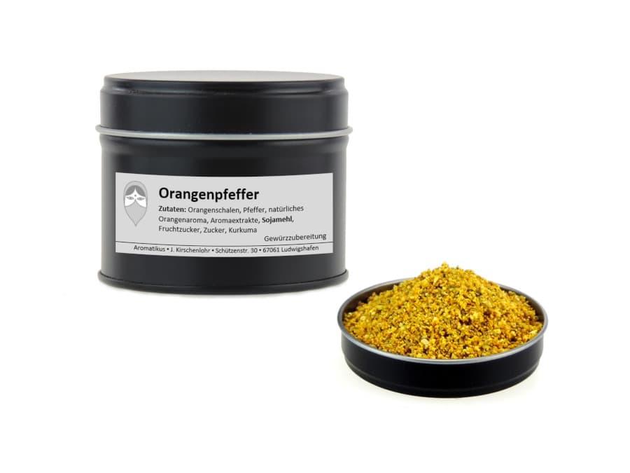 Orangenpfeffer Pfeffermischung von Aromatikus in einer Aromaschutzdose