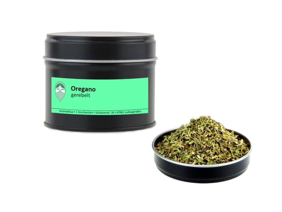 Oregano getrocknet gerebelt von Aromatikus in einer Aromaschutzdose