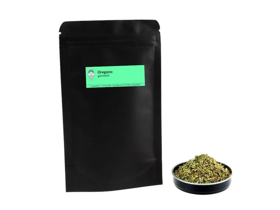 Oregano getrocknet gerebelt von Aromatikus im verschließbaren Nachfüllpäckchen