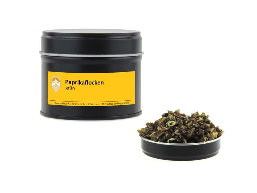 Paprikaflocken grün getrocknet von Aromatikus in einer Aromaschutzdose