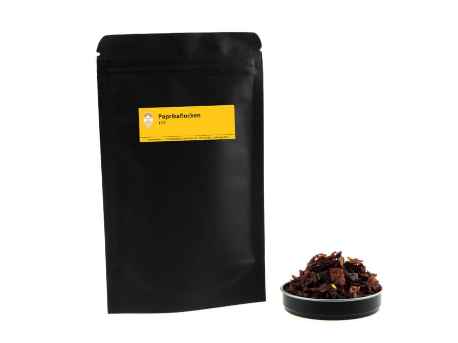 Paprikaflocken rot getrocknet von Aromatikus im verschließbaren Nachfüllpäckchen