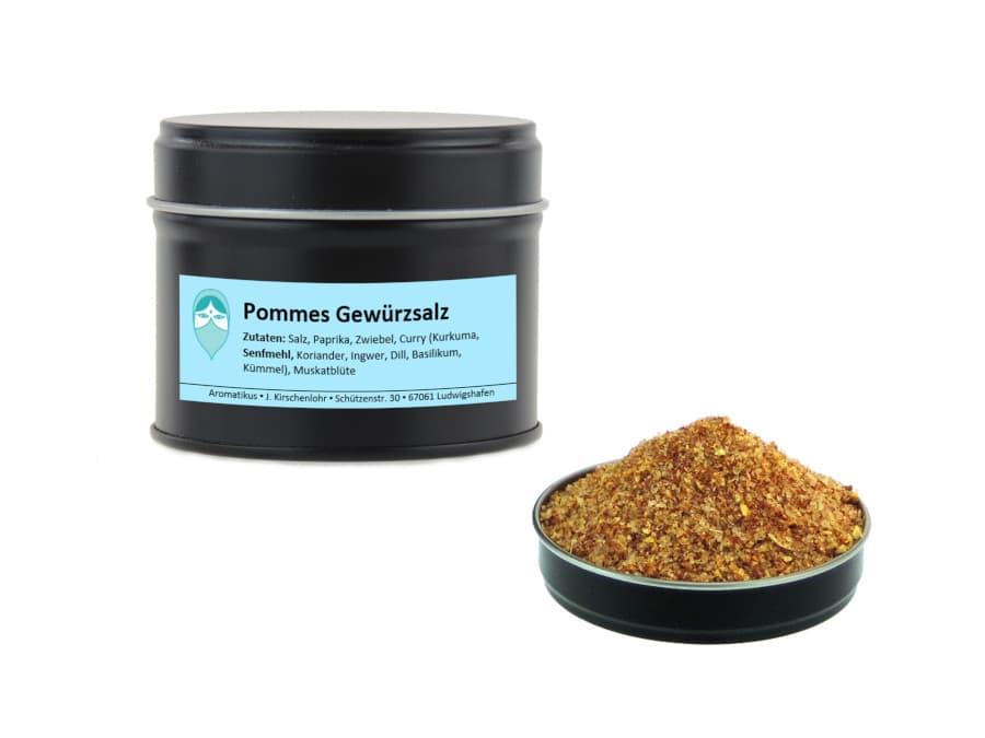 Pommeswürzsalz Mischung von Aromatikus in einer Aromaschutzdose