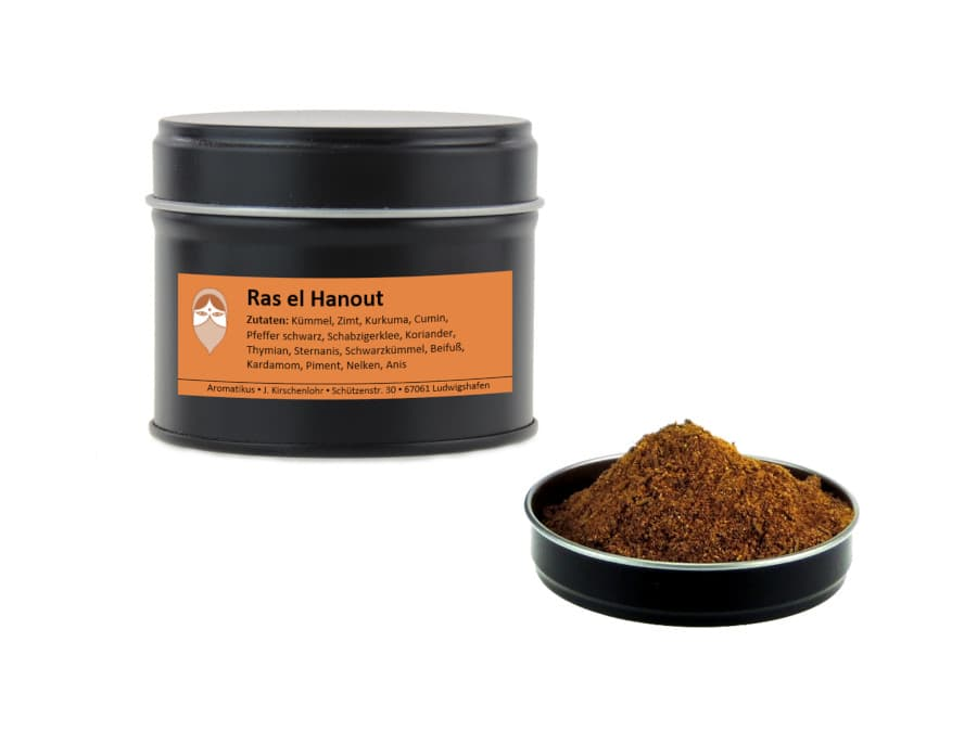 Ras el Hanout Gewürzmischung von Aromatikus in einer Aromaschutzdose