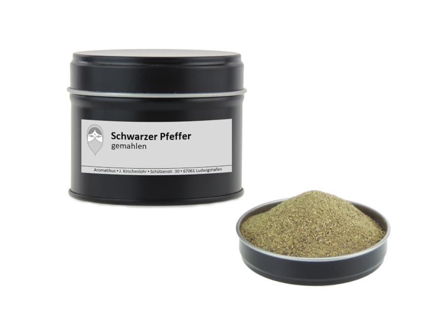 Schwarzer Pfeffer gemahlen von Aromatikus in einer Aromaschutzdose