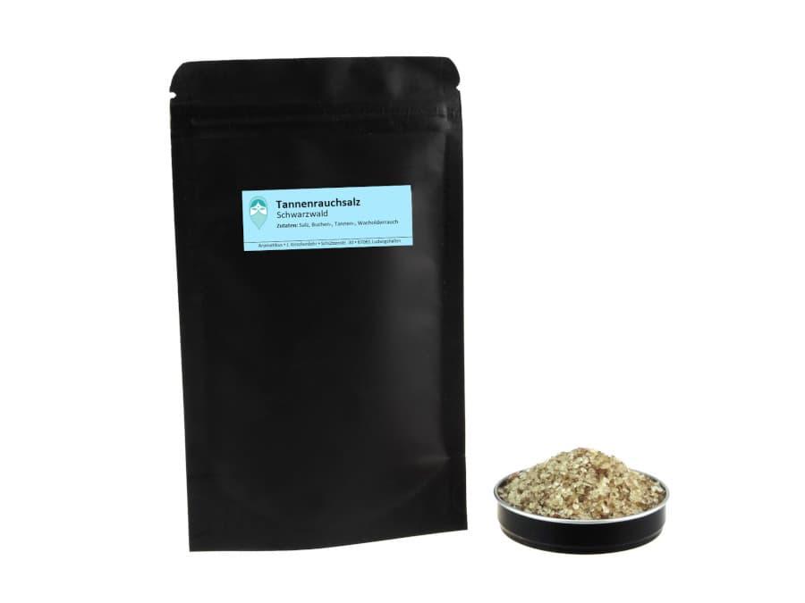 Schwarzwälder Tannenrauchsalz von Aromatikus im verschließbaren Nachfüllpäckchen