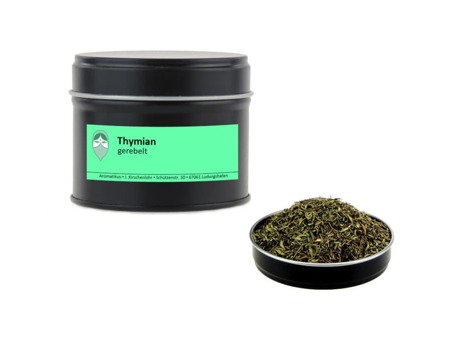 Thymian getrocknet gerebelt von Aromatikus in einer Aromaschutzdose