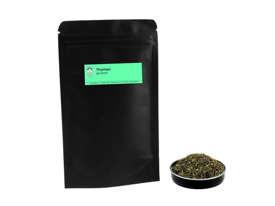 Thymian getrocknet gerebelt von Aromatikus im verschließbaren Nachfüllpäckchen