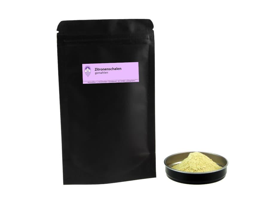 Zitronenschalen getrocknet gemahlen von Aromatikus im verschließbaren Nachfüllpäckchen