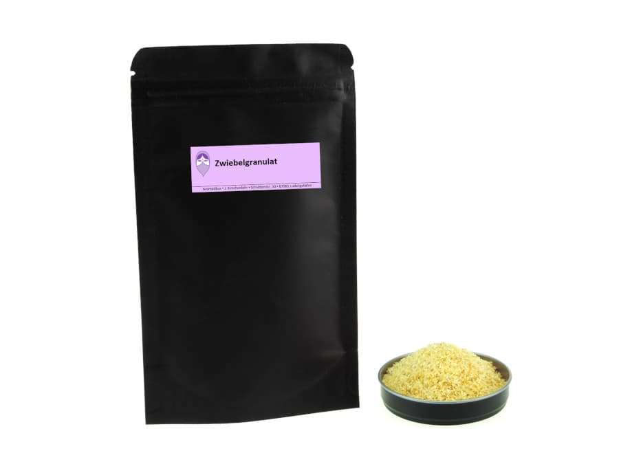 Zwiebelgranulat von Aromatikus im verschließbaren Nachfüllpäckchen