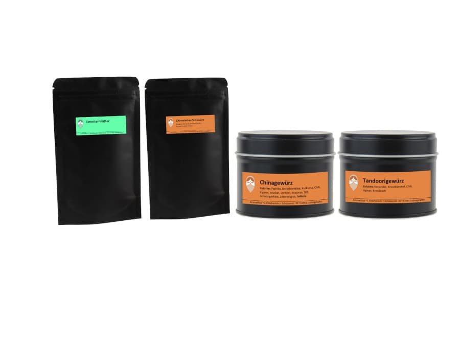 Asiatisches Gewürze Set aus Limettenblättern Chinagewürz Tandoorigewürz Chinesisches Fünf-Gewürz von Aromatikus