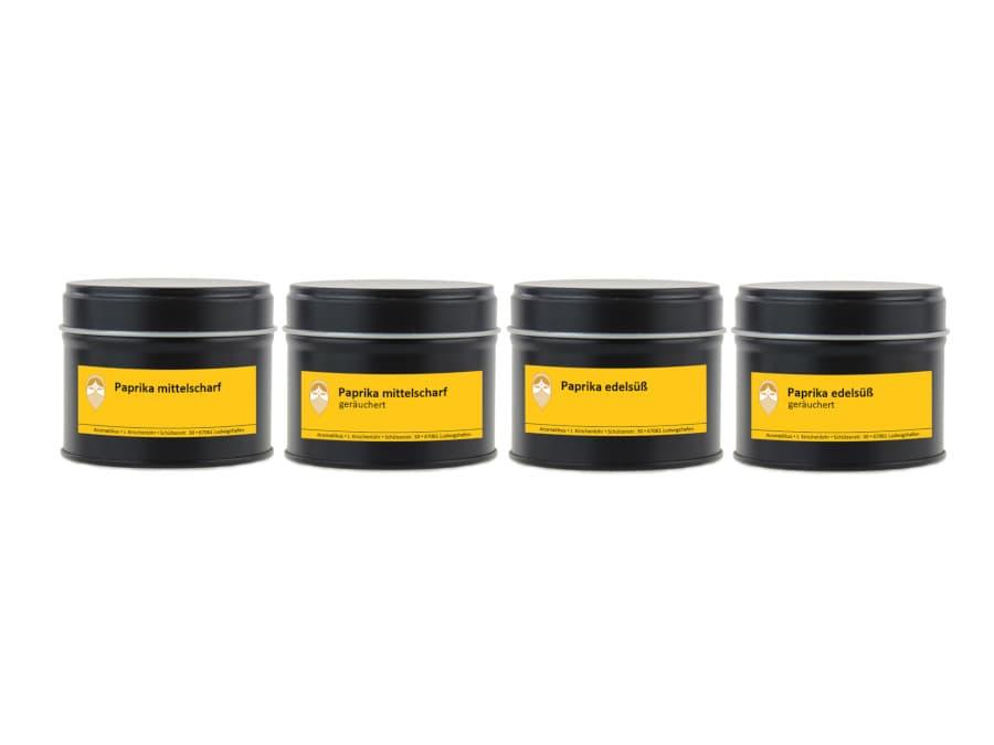 Paprika Set aus vier verschiedenen Gewürzen edelsüß und mittelscharf normal und je in geräuchert von Aromatikus