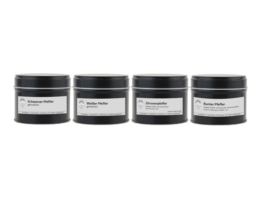 Pfeffer Set aus vier verschiedenen Sorten schwarzer und weißer Pfeffer gemahlen bunter Pfeffer und Zitronenpfeffer von Aromatikus