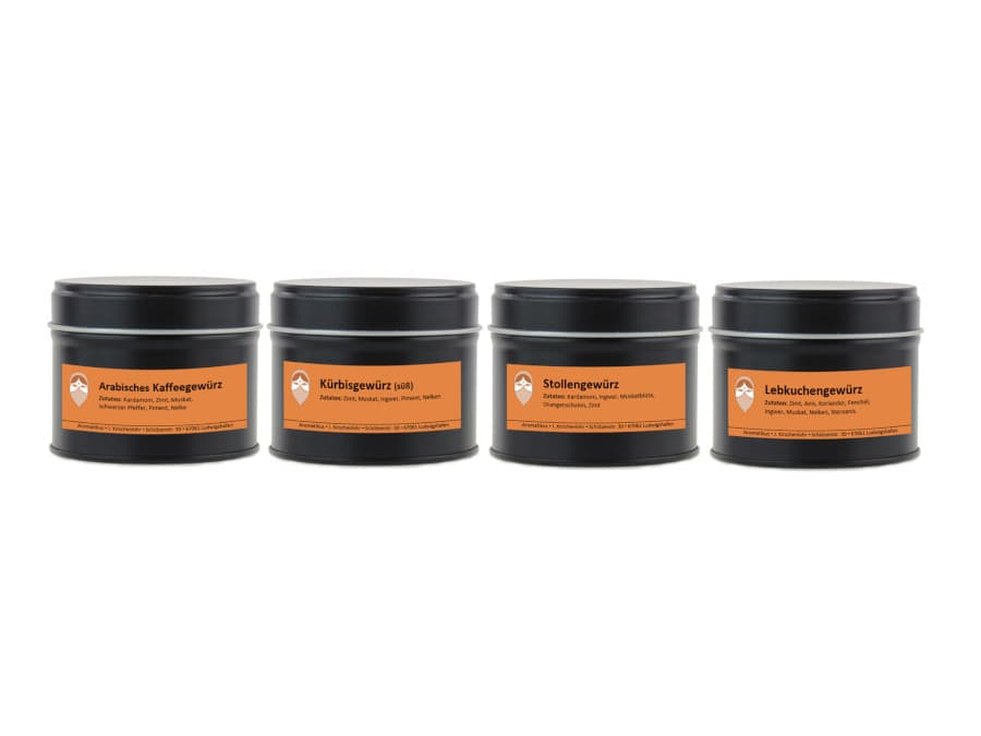 Süßes Gewürze Set aus arabischem Kaffeegewürz, süßes Kürbisgewürz, Lebkuchengewürz und Stollengewürz von Aromatikus