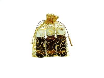 Organzabeutel für bis zu drei ätherische Öle in gold 10x15cm von Aromatikus