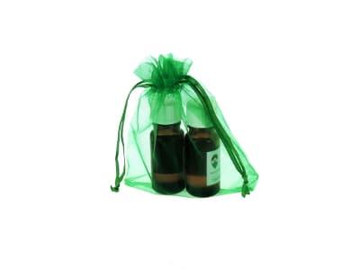 Organzabeutel für bis zu drei ätherische Öle in grün 10x15cm von Aromatikus