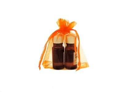 Organzabeutel für bis zu drei ätherische Öle in orange 10x15cm von Aromatikus