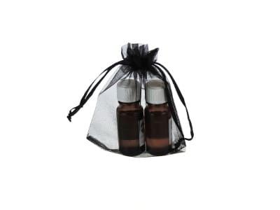 Organzabeutel für bis zu drei ätherische Öle in schwarz 10x15cm von Aromatikus