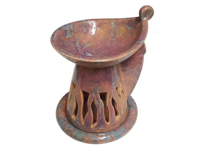 Keramik Duftlampe bunt (orange, braun) von Aromatikus